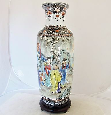 "13.5"" Antique Chinese Famille Rose Thin Porcelain Vase w/ People & Qianlong Mark"