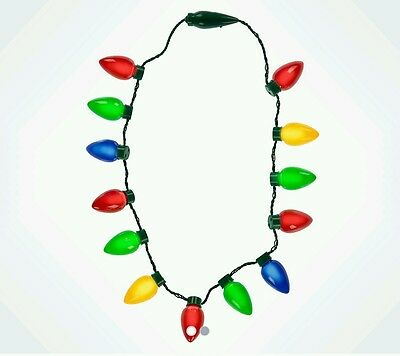 Christmas Light Necklace.Disney Parks Led Christmas Light Up Holiday Glow Necklace Flashing Bulbs Retro