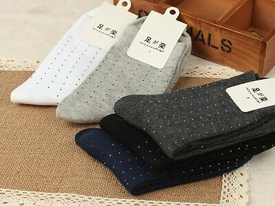 5 Pairs Mens Socks Lot Cotton Knit Warm Classic Dots Business Casual Dress Socks
