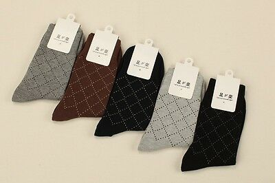 5 Pairs Mens Socks Lot Cotton Knit Warm Classic Grid Business Casual Dress Socks
