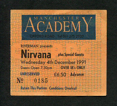 Original 1991 Nirvana concert ticket stub Manchester UK Nevermind