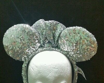 Authentic Disney Parks Minnie Mouse Ear Headband - Silver Sequins Sequined
