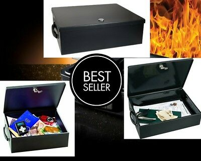 Fireproof Security Chest Large Cash Safe Waterproof Key Lock Box Fire Resistant