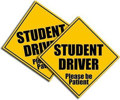 """Student Driver Sticker-Bright Yellow-Safety Decal School Teen Driver 4"""" 2 Pack"""
