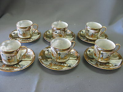 Six Japanese Eggshell Cups and Saucers Marked
