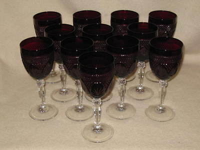 Mint Never Used Set 12 Luminarc Antique Style Ruby Water or Wine Goblets Frane