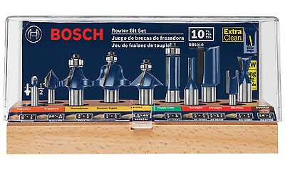 Bosch All-Purpose Professional Carbide-Tipped 10-Pc Router Bit Set RBS010 NEW