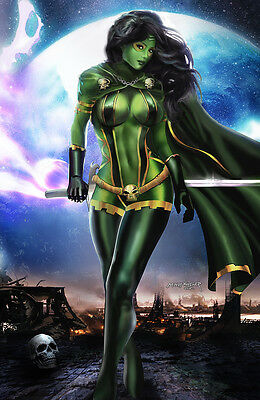 GAMORA GUARDIANS OF THE GALAXY ART PRINT BY MINDY WHEELER SIGNED 11x17