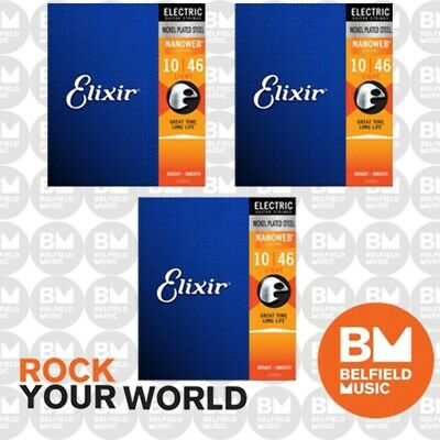 3 x Elixir 12052 Electric Guitar Strings Nano Nanoweb Light 10-46 E-NW-L