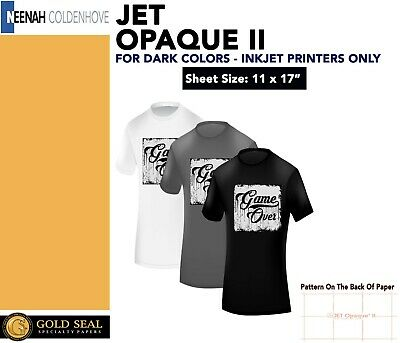 "Neenah Jet Opaque II 11 x 17"" Inkjet Dark Transfer Paper Dark Colors 35 Sheets"
