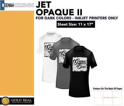"Neenah Jet Opaque II 11 x 17"" Inkjet Dark Transfer Paper Dark Colors 70 Sheets"