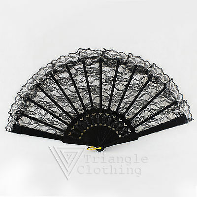 Ladies Black Lace Hand Fan Spanish Dance Masquerade Party Fancy Dress Victorian