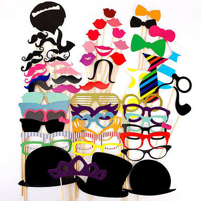 58 PCS Photo Booth Props Moustache on A Stick Weddings Holiday Birthday Party