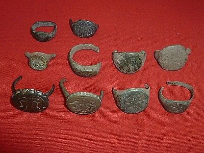 STUNNING Lot of 10 ROMAN ANCIENT BRONZE RINGS Circa 100 - 300 AD          -1784-