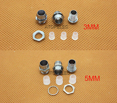 10-200pcs 3MM / 5MM Chromed Copper Metal LED Holder with Nut Bezel Panel Mount