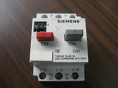 Siemens 3VE1010-2H Overload Relay (1.6 to 2.5 Amp)