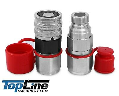 """TL29 3/4"""" NPT Thread 5/8 Flat Face High Flow Hydraulic Quick Connect Coupler Set"""
