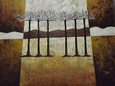 abstract trees huge oil painting canvas brown white cream contemporary original