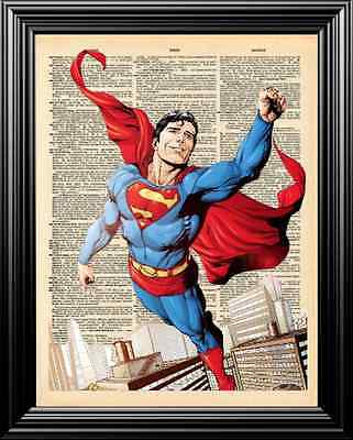 The New Superman Altered Art Upcycled Vintage Dictionary Art Page Wall Print