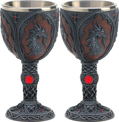 2 Bejeweled with Rich Scrollwork Royal Dragon Head Crest Goblets Drinking Mugs
