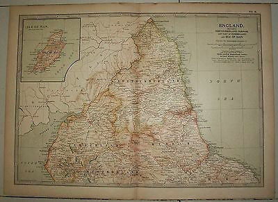 Map of England section 1 ex-Britannica Encyclopedia 1903 few worm holes