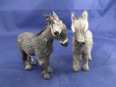 A Pair Of Unique Vintage Fur Hair Covered Donkey Figurines
