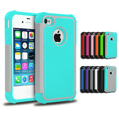 Slim Tough Heavy Duty Hybrid Armor Shockproof Case Cover for Apple iPhone 4S 4