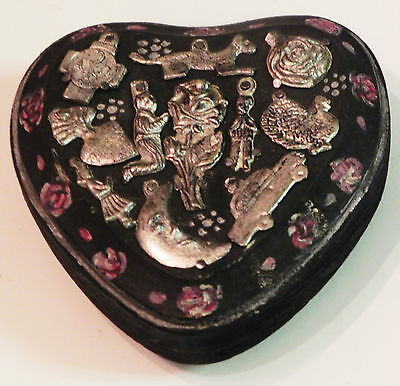 Unique Mexican Wooden Milagro Heart  By Julia Black 13