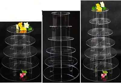 2/5/7 Tier Clear Acrylic Round Cake Cupcake Stand Birthday Wedding Party Display