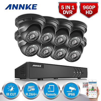 ANNKE 2500TVL 960P Metal Dome Camera 8CH HD DVR Home Security System Smart Seach