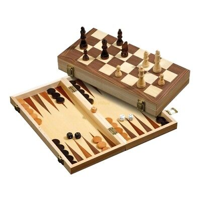 Exclusive Chess Backgammon Checkers Set - With Magnetic Closure