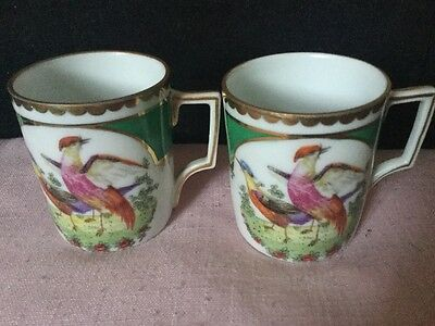 Stunning Pair of 1920s/30s Porcelain Coffee Cans With Elaborate Bird Decoration