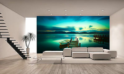 Photo Wallpaper Wooden Pier and a Boat GIANT WALL DECOR PAPER POSTER FREE PASTE