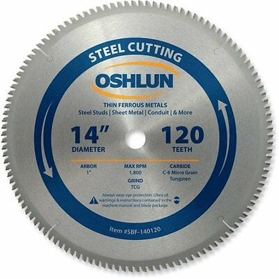 Oshlun SBF-140120 14 x 120 Tooth Saw Blade with 1-Inch Arbor for Mild Steel