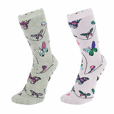 Light Coloured Butterfly Pattern Ankle Socks (Size: 4-7)