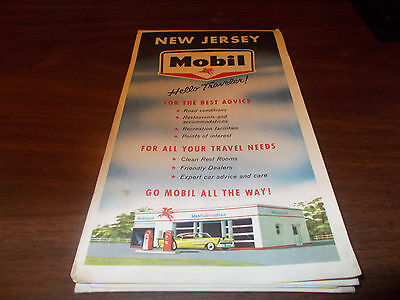 1959 Mobil New Jersey Vintage Road Map