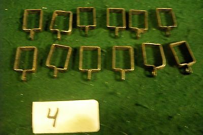 Antique-Old Cast Drapery Rod Clips Lot Black -12 Each -1/2 X 3/4-Rough Looking