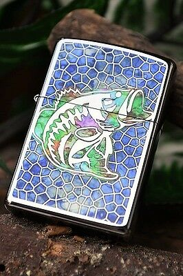 Zippo Lighter - Fusion Fish - Stained Glass - Bass Fishing -  Model # 44483