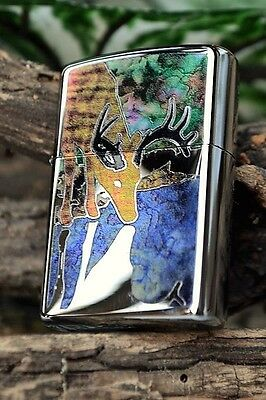 Zippo Lighter - Fusion Deer Drinking - Stained Glass - Buck - Hunting - # 44486