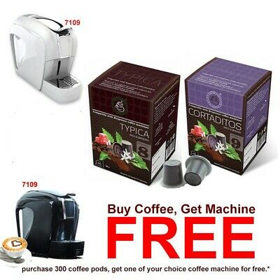 300 Espresso Coffee Pods + FREE 1 Nespresso Camptiable Coffee Capsule Machine