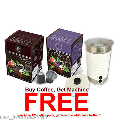 120 Espresso Coffee Pods + FREE 1 Stainless Steel Coffee Milk Frother