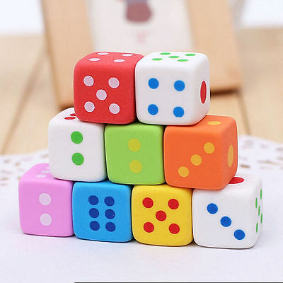 6Pcs Colorful Rubber Numbers Dice Game Pencil Erasers Funny Creative Stationery
