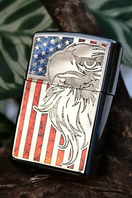 Zippo Lighter - Fusion Bald Eagle Flag - Stained Glass - US - American - # 44489