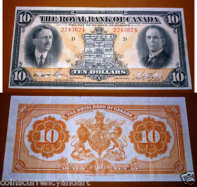 Royal Bank Of Canada  - $10 1927 - LARGE BANKNOTE -Canadian chartered VF++