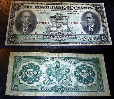 1913 CANADA $5 , ROYAL BANK OF CANADA 630-12-02 ,ms signature LEFT
