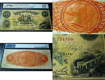 Magnificent Train Banknote, 1917 Bank of Toronto ,$10 CANADA ,  PMG25