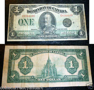 "Dominion Of Canada - 1923 $1 - E series - "" DC-25o"" -LargeSize  Banknote"