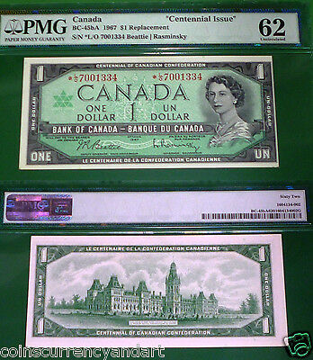"""Lowest 40k Printed "" BC-45bA * L/O  Replacement 1967 Canada $1 Centennial PMG62"