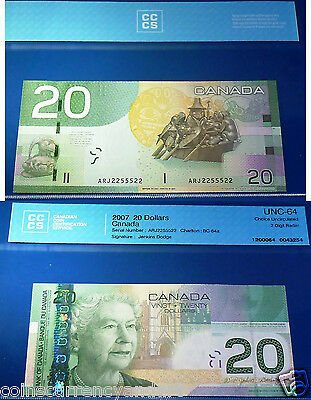 RADAR  2255522  2007  2 Digit - 2011  Bank of Canada $20  Certified  Banknote