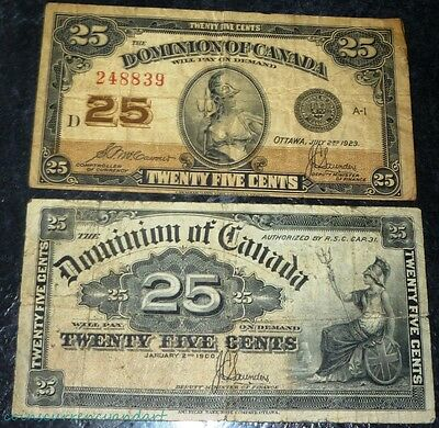 Dominion  of Canada 25 cents (1900) & 25 cents (1923)  TWO-  banknotes